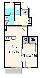 東京都西東京市芝久保町2丁目の賃貸アパートの間取り