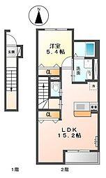 ミルキーウェイ千鶴[2階]の間取り