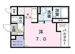 小田急小田原線 町田駅 徒歩16分の賃貸マンション 3階1Kの間取り