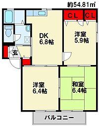 ファミールJ II棟[2階]の間取り