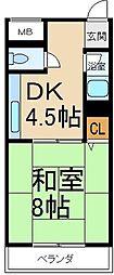 浜田ハイツ[4階]の間取り