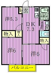 千葉県野田市柳沢の賃貸マンションの間取り