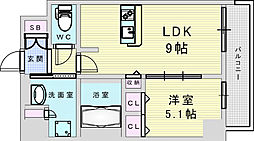 Osaka Metro御堂筋線 新大阪駅 徒歩8分の賃貸マンション 14階1LDKの間取り