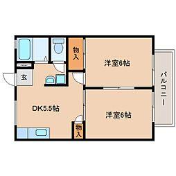 静岡県藤枝市青葉町の賃貸アパートの間取り