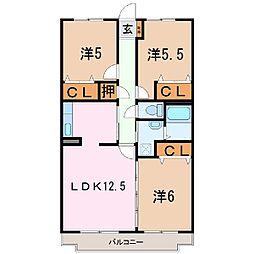 静岡県富士宮市宮原の賃貸マンションの間取り