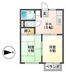 粟野ハイツ A・B[2階]の間取り