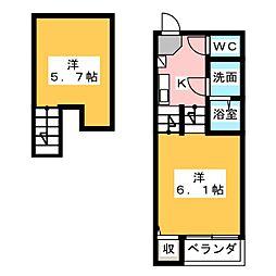 ハーモニーテラス鶴田[1階]の間取り