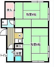 東京都三鷹市中原3丁目の賃貸アパートの間取り