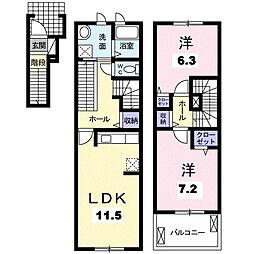 ドゥ リュミエール[2階]の間取り