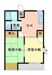 栃木県宇都宮市東町の賃貸アパートの間取り