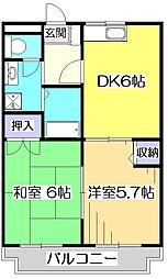 ボナール東元町[3階]の間取り