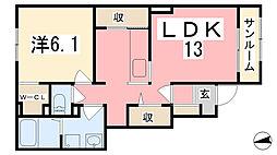 兵庫県姫路市青山4丁目の賃貸アパートの間取り