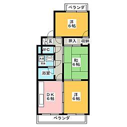 愛知県名古屋市昭和区高峯町の賃貸マンションの間取り