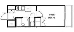 WOOD HOUSE[202号室]の間取り