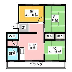 ロンサール高間[1階]の間取り