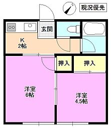 長野県松本市中央4丁目の賃貸アパートの間取り
