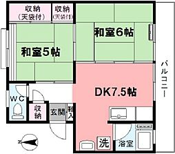 津田コーポ[301号室]の間取り