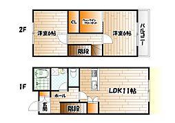 福岡県北九州市小倉北区日明2丁目の賃貸アパートの間取り