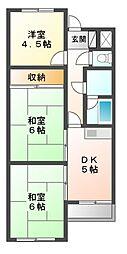 滋賀県大津市南志賀2丁目の賃貸アパートの間取り