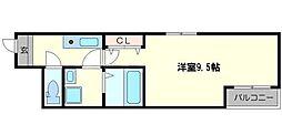 セイム大桐 2階1Kの間取り