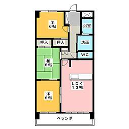 三重県四日市市波木南台3の賃貸マンションの間取り