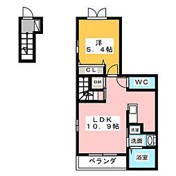 愛知県名古屋市名東区山の手3丁目の賃貸アパートの間取り
