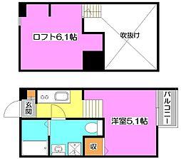 埼玉県所沢市小手指台の賃貸アパートの間取り