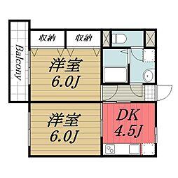 千葉県成田市囲護台の賃貸マンションの間取り