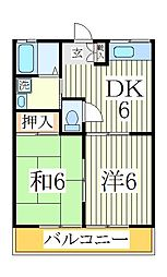コーポ谷田貝[1階]の間取り
