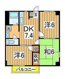 千葉県柏市名戸ヶ谷1丁目の賃貸アパートの間取り