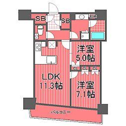 神奈川県横浜市西区みなとみらい4丁目の賃貸マンションの間取り