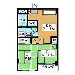 マリネットA−ワン[3階]の間取り