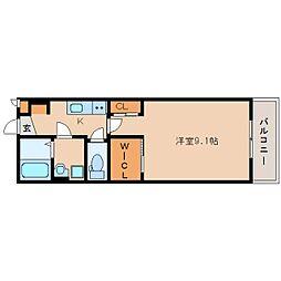 近鉄奈良線 新大宮駅 徒歩13分の賃貸アパート 1階1Kの間取り