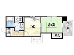 グリーンファミール石田 2階1DKの間取り