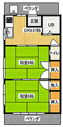 イワサキハイツ[2階]の間取り