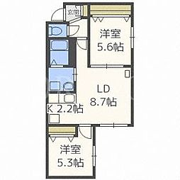 北海道札幌市北区北三十二条西5丁目の賃貸マンションの間取り