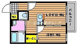 JR山陽本線 高島駅 徒歩28分の賃貸アパート 2階1LDKの間取り