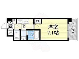おおさか東線 城北公園通駅 徒歩8分の賃貸マンション 5階1Kの間取り