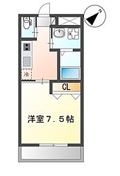 沖縄都市モノレール 安里駅 徒歩10分の賃貸マンション 2階1Kの間取り
