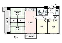 ロジメント生の松原[4階]の間取り