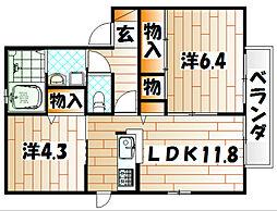 三洋タウン本城G[2階]の間取り