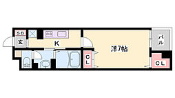 JR播但線 京口駅 徒歩6分の賃貸マンション 4階1Kの間取り