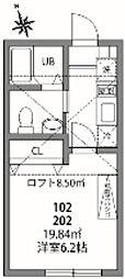 JR中央本線 国分寺駅 徒歩7分の賃貸アパート 2階1Kの間取り