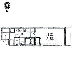 京都市営烏丸線 今出川駅 徒歩9分の賃貸マンション 3階1Kの間取り
