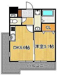 JR鹿児島本線 小倉駅 徒歩9分の賃貸マンション 2階1DKの間取り