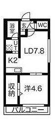札幌市営東西線 西28丁目駅 徒歩7分の賃貸マンション 4階1LDKの間取り