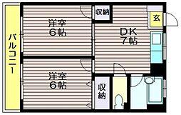 荒井第一マンション[302号室]の間取り