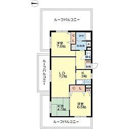 八幡屋港友マンション[8階]の間取り