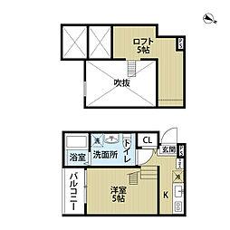 愛知県名古屋市西区平出町の賃貸アパートの間取り