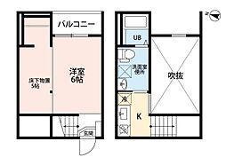 名鉄瀬戸線 守山自衛隊前駅 徒歩2分の賃貸アパート 1階1Kの間取り